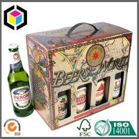 750ml Beer Bottle Packaging Box; Plastic Handle Color Paper Packaging Box Manufactures