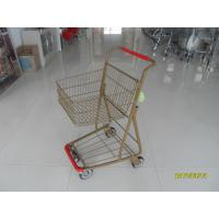 Quality Supermarket 40 L Singel Basket Metal Shopping Cart With Wheels And Front Bumper for sale