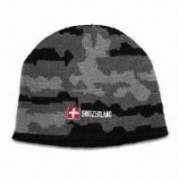 Men's camo hat with jacquard knit camo pattern and embroidery logo Manufactures