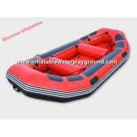 Quality Red And Blue 0.9mm PVC Fabric Inflatable Boat Raft With Inflatable Floor for sale