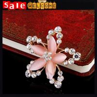 Sweater Pin Plant Flower Opal Crystal Rhinestone Pink Leaf Brooch Bouquet Scarf Clip Gift Manufactures