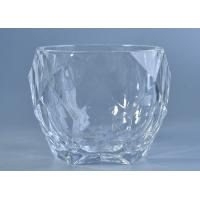 High White Crystal Candle Holders Glass , Diamond Shaped Glass Candlestick Holders Manufactures