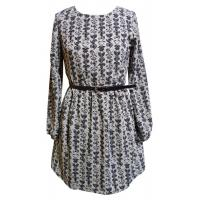 Ladies elegant Flower Prined long sleeved Crepe Dresses for Autumn , Winter Manufactures