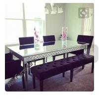 Quality Sophia Silver Glass Dining Table , 160 * 90 * 75cm Mirror Dining Room Table for sale