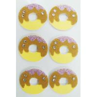 Doughnut Round Fuzzy Animal Stickers , Non Woven Custom Glitter Stickers Manufactures
