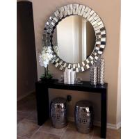 Quality Round Modern 3D Wall Mirror For Living Room Silver / Gold Trimming for sale