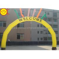 PVC / Nylon Yellow Welcome Inflatable Arch With Six Colorful Sky Air Dancers Manufactures