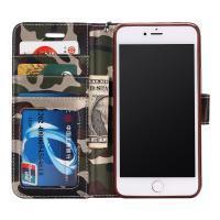 Protective IPhone 6s Leather Wallet Case , Camo Color Flip Leather Case Folio Style Manufactures