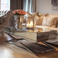 High Polish Steel Silver Mirror Table , Living Room Mirrored Coffee Table Manufactures