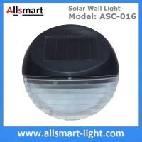 2 LED Round Solar Fence Sensor Light Wall Mount Solar Landscaping Wall Lamp Solar Powered Security Lighting Manufactures