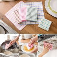Pink / Blue British Grid Kitchen Tea Towels , 27 × 27cm Hand Towels For Kitchen  Manufactures