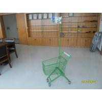 Green powder coating 33 Liter of  Metal Kids Shopping Carts With Flag Manufactures