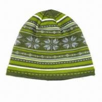 Ladies Knitted Hat, Made of Acrylic and Fleece, with Jacquard Design Manufactures