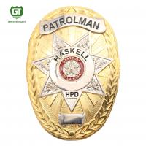 Gold Plating oval shape special design custom metal police badge Manufactures
