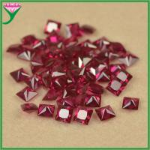 China high quality 8# square princess cut dark red synthetic original ruby corundum gems stone on sale