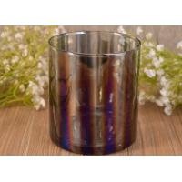 Decorative Straight Walled Glass Candle Holder with Electroplating Color Effect Manufactures