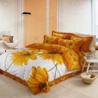 Luxury Yellow Polyester Bed Sets , Microfiber Polyester Cotton Quilt Covers Sets Manufactures