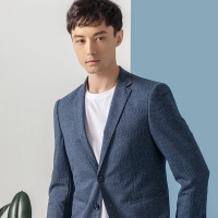 Knit Fabric formal Suit Navy Mens Slim Fit Casual Blazer Manufactures