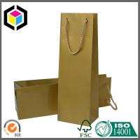 Quality Single Bottle Red Wine Paper Bag; Gold Color Paper Wine Bag with PP Handle for sale