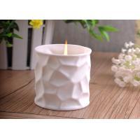 White Tealight Ceramic Candle Holder Embossment 290ml Large Capacity Manufactures