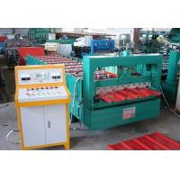 Quality Green Color Roofing Sheet Roll Forming Machine With Stainless Steel Slide for sale