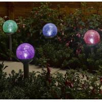 Quality Brightest Solar Garden Lights Changing Color LED Crackle Glass Solar Outdoor Orb for sale