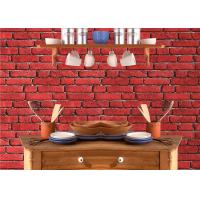 China Vintage Removable 3D Brick Effect Wallpaper , Foam Faux Brick Wall Covering Washable on sale