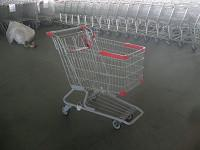 PU Wheel Supermarket Shopping Carts with Bottom Rack , funky shopping trolley Manufactures