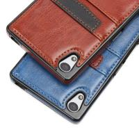 Brown Classic Sony Xperia Leather Case Slim Card Holder With Wallet Function Manufactures