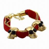 Fashionable human skeleton cloth bracelet with alloy hook  Manufactures