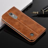 Quality Magnetic Oily Protective LG Leather Case For LG K8 Flip Cover Brown Color for sale