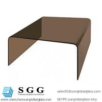 China Excellence quality smokey brown square bent glass coffee table on sale