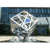 Large Modern Cube Sculpture Stainless Steel Fountain Outdoor Decorative Manufactures
