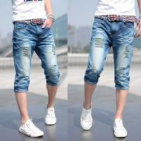 2018 fashion mens double waistband cropped denim jeans with skinny or fashion design Manufactures