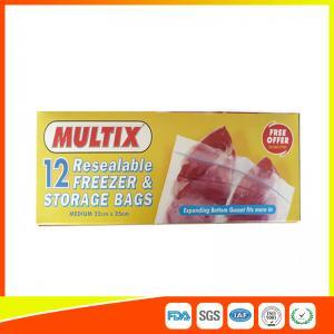 Supermarket Plastic Freezer Zip Lock Bags / Zip Seal Food Freezer Bags Manufactures