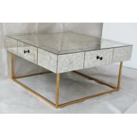 Large Size Square Mirrored Coffee Table Antique Gold Leaves Finish Manufactures