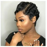 Custom Color Short Human Hair Lace Front Wigs Cap Average Size With Adjustable Straps Manufactures