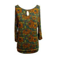 Floral Print Viscose t shirt Casual Ladies Clothing / long sleeve ladies tops Manufactures