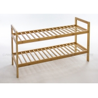 Natural Color Knock Down 40cm Height Wooden Shoe Storage Rack Manufactures