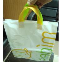White Plastic Gift Bags With Custom Logo / Loop Handle Polythene Bags For Promotion Manufactures