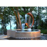 Contemporary Corten Steel Water Feature Fountain C Shape For Outdoor Manufactures
