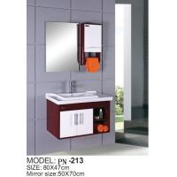 Quality Red small PVC/MDF/solid wood hanging/floating/wall-mounted bathroom vanity for sale