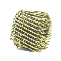 Yellow Coated Galvanized Coil Nails Q235 Material For Wood Pallet 15 Degree Manufactures