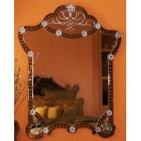 Quality Garment Design Venetian Wall Mirror Flowers Etching 4mm Beveled Mirorr for sale