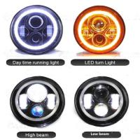 7 inch Round Jeep Wrangler LED Headlights With Halo Ring Angel Eyes 70Watt , with 3700 Lumens headlight for Jeep Manufactures