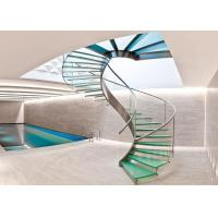 Villa Residential Circle Custom Spiral Staircase Tempered Glass Decorative Manufactures