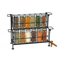 Buy cheap SGS/FDA 12 pieces small glass spice jars with lids on rack 2 tier , 90ml for from wholesalers