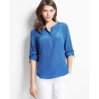 Women's Blouses » Women Roll up Sleeves O Neck Blouse Manufactures
