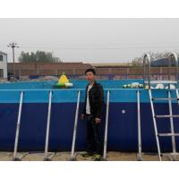 Quality outdoor durable blue Portable  Above ground rectangular steel metal frame swimming pool for water park for sale