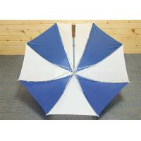 Huge Blue And White Golf Umbrella Wooden Handle , Long Shaft Golf Umbrella Manufactures